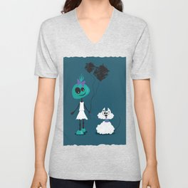 Extraterrestrial girl and her pet Unisex V-Neck