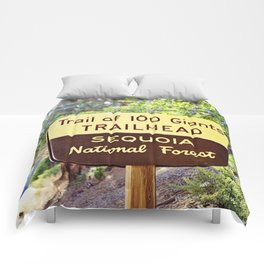 Trail of 100 Giants Vintage National Forest Sign Comforters