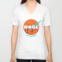 nasa V-neck T-shirts featuring Doge Nasa Variant (To The Moon!) by Tabner's