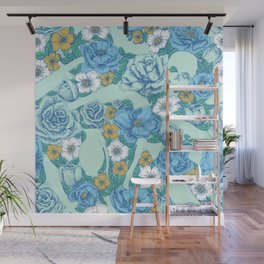 Weapon Floral-Blue Wall Mural