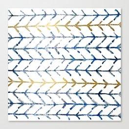 Indigo Gold Herringbone Pattern Canvas Print