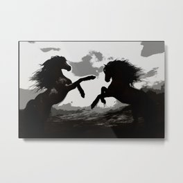 Battle of the Horses - Equine Art Metal Print