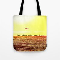 bon iver Tote Bags featuring PERTH- BON IVER by Michelle Pitiris