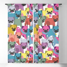 Colored Pugs Pattern - no1 Blackout Curtain