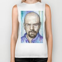 walter white Biker Tanks featuring Walter White Portrait by Olechka