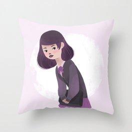 Japanese Schoolgirl Doodle Throw Pillow