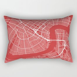 New Orleans Map, USA - Red Rectangular Pillow