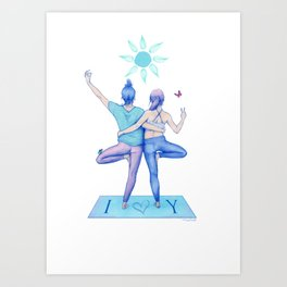 Yogi Love cold colours Art Print
