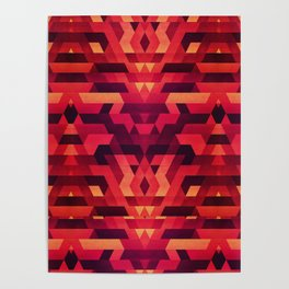 Abstract red geometric triangle texture pattern design (Digital Futrure - Hipster / Fashion) Poster