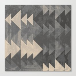 Geometric triangles abstract pattern - Gray tones & Beige Canvas Print