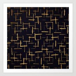 Gold Paint Brush #2 Art Print