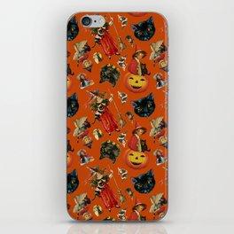 Vintage Black Cat Halloween Toss in Pumpkin Spice iPhone Skin