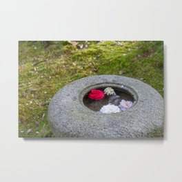 Japanese Garden, Stone Bowl with Floating Flowers Metal Print