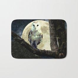 Barn Owl Bird Moon Modern Country Decor Farmhouse Art A497 Bath Mat