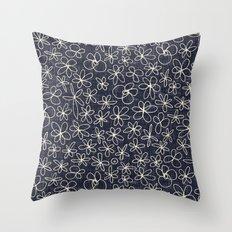 garland flowers cobalt Throw Pillow