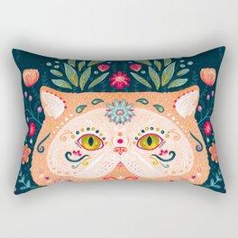 Candied Sugar Skull Kitty Rectangular Pillow