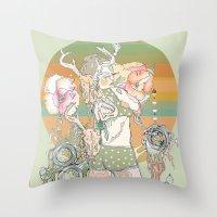 blush Throw Pillows featuring blush by Cassidy Rae Marietta