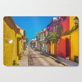Traditional Street in Cartagena de Indias, Colombia Cutting Board
