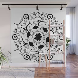 Namsate black mandala on white Wall Mural