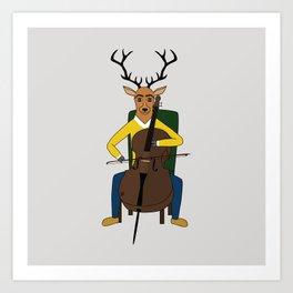 Deer playing cello Art Print