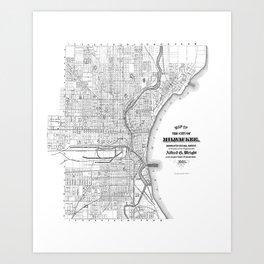Milwaukee Wisconsin Map 1887 Art Print