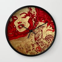 sriracha Wall Clocks featuring Some Like It Hot by Matt Pecson