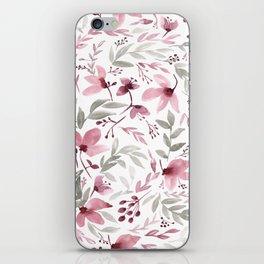 Rustic Floral - Watercolor Flowers Burgundy Pink iPhone Skin
