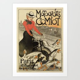 1899 vintage French motorcycle ad by Steinlen Art Print
