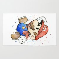 mario Area & Throw Rugs featuring Mario Watercolor by Olechka