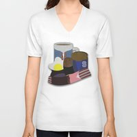 breakfast club V-neck T-shirts featuring Breakfast Club by Matt Humphrey