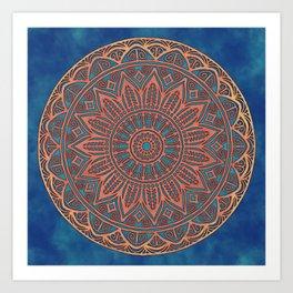 Wooden-Style Mandala Art Print