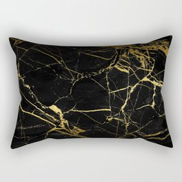 Black and Gold Marble Rectangular Pillow