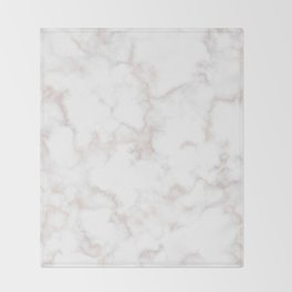Rose Gold Marble Natural Stone Gold Metallic Veining White Quartz Throw Blanket