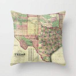Colton's Map of Texas (1872) Throw Pillow