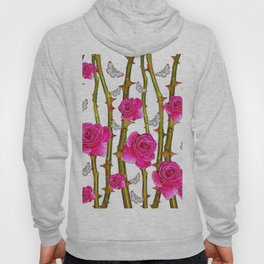 WHITE BUTTERFLIES & PINK ROSE THORN CANES WHITE ART Hoody