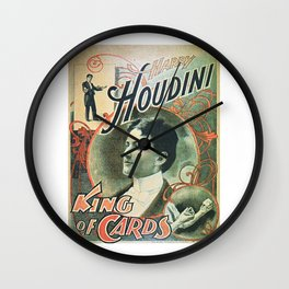 Houdini, king of cards, vintage poster Wall Clock