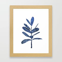 indigo ficus leaf watercolor Framed Art Print