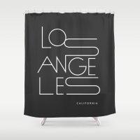 los angeles Shower Curtains featuring Los Angeles. by Dean Yorimitsu