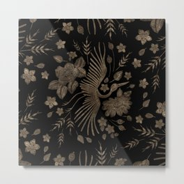 Golden Embroidery Crone and Flowers Metal Print