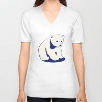 polar bear V-neck T-shirts featuring Polar bear by Michelle Behar