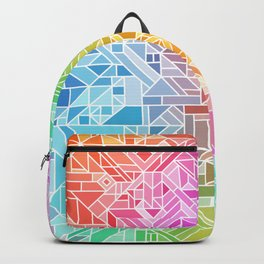 BRIGHT VIBRANT GRADIENT GEOMETRIC SHAPES RAINBOW PRINT TILED MOSAIC TIE DYE COLORFUL Backpack