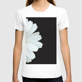 Hello Daisy - White Flower Black Background #decor #society6 #buyart T-shirt