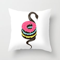 Snake Donuts Throw Pillow