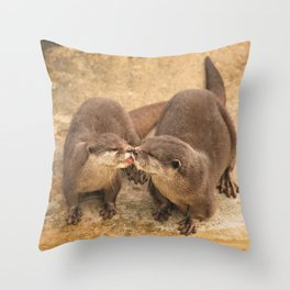 Kissing Otters Throw Pillow