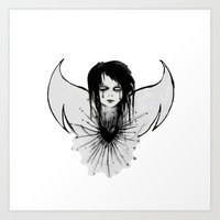 angel Art Prints featuring angel by Abraxas (luciana cabane)