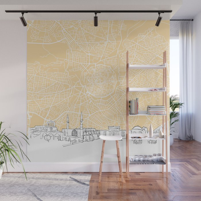Nicosia Cyprus Skyline Map Wall Mural by hebstreit