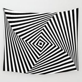 Op art rotating square in black and white Wall Tapestry