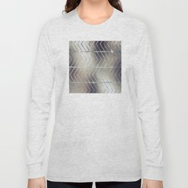 Luxury Silver and Black Herring Bone Pattern Long Sleeve T-shirt