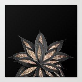 Gray Black Agave with Gold Glitter #1 #shiny #tropical #decor #art #society6 Canvas Print