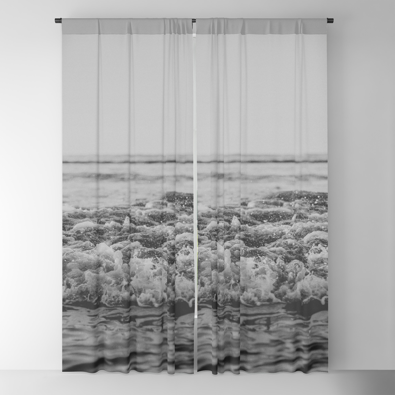 Black and white pacific ocean waves blackout curtain by floresimagespdx